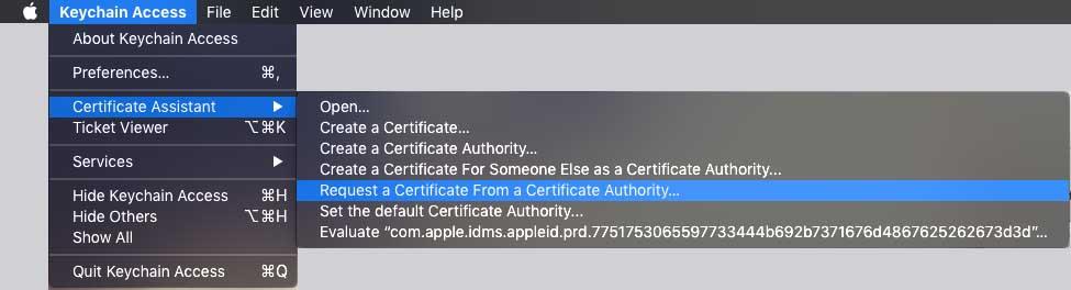 mac csr certificato